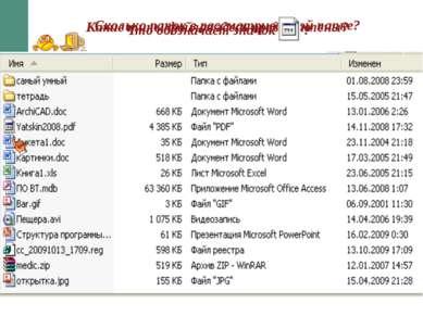 Сколько папок в рассматриваемой папке? Какие типы файлов здесь представлены?