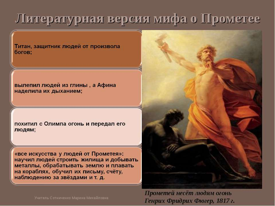 Литературная версия мифа о Прометее Прометей несёт людям огонь Генрих Фридрих...