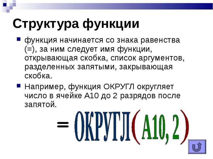 Структура функции функция начинается со знака равенства (=), за ним следует и...