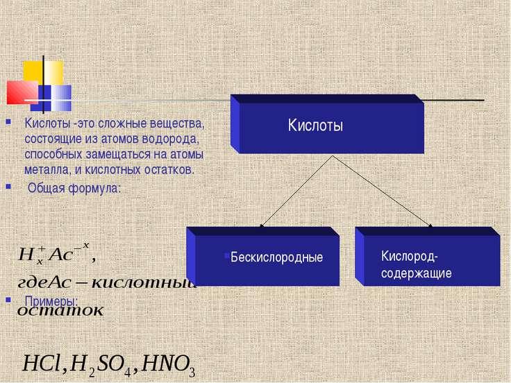 Кислоты -это сложные вещества, состоящие из атомов водорода, способных замеща...