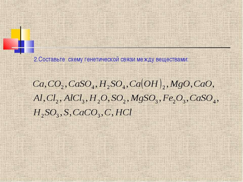2.Составьте схему генетической связи между веществами: