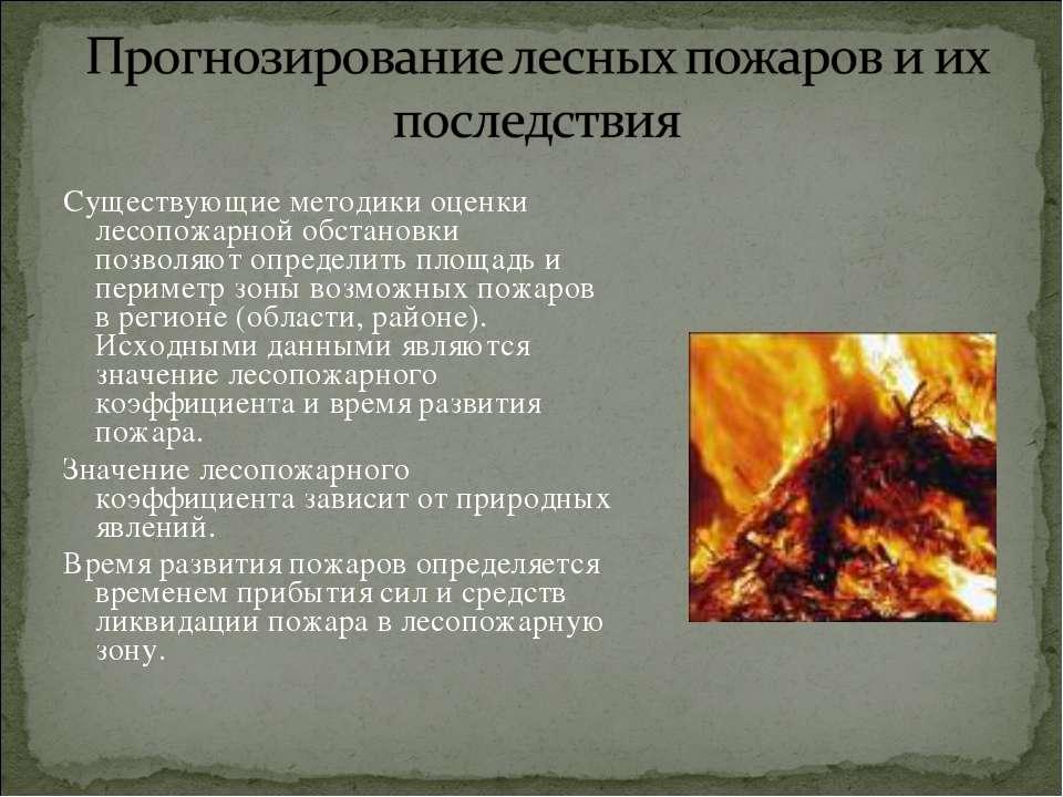 Существующие методики оценки лесопожарной обстановки позволяют определить пло...