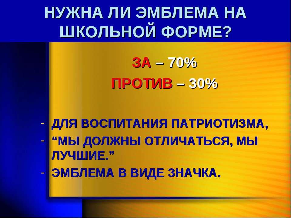 НУЖНА ЛИ ЭМБЛЕМА НА ШКОЛЬНОЙ ФОРМЕ? ЗА – 70% ПРОТИВ – 30% ДЛЯ ВОСПИТАНИЯ ПАТР...