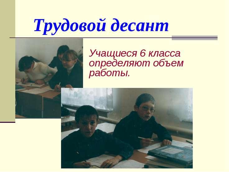 Трудовой десант Учащиеся 6 класса определяют объем работы.