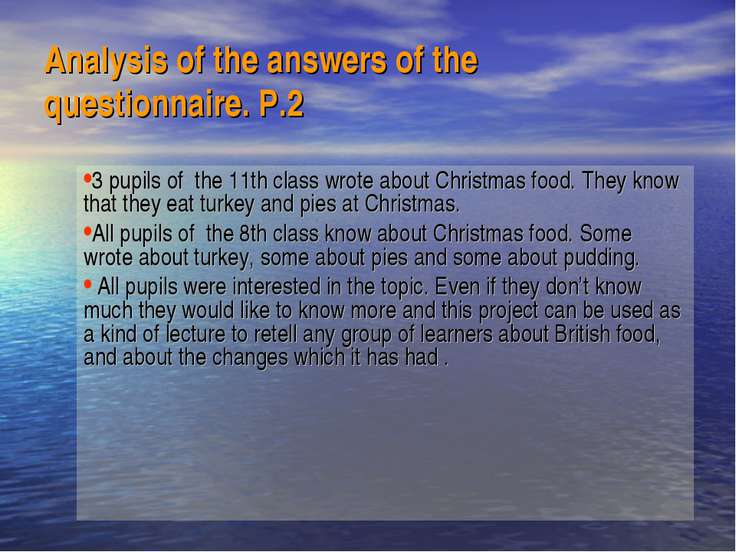 Analysis of the answers of the questionnaire. P.2 3 pupils of the 11th class ...