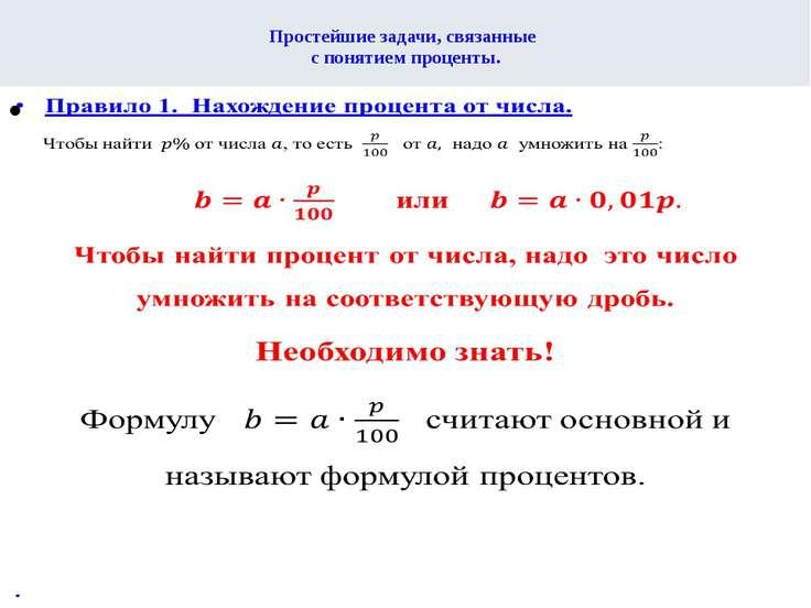 Простейшие задачи, связанные с понятием проценты.