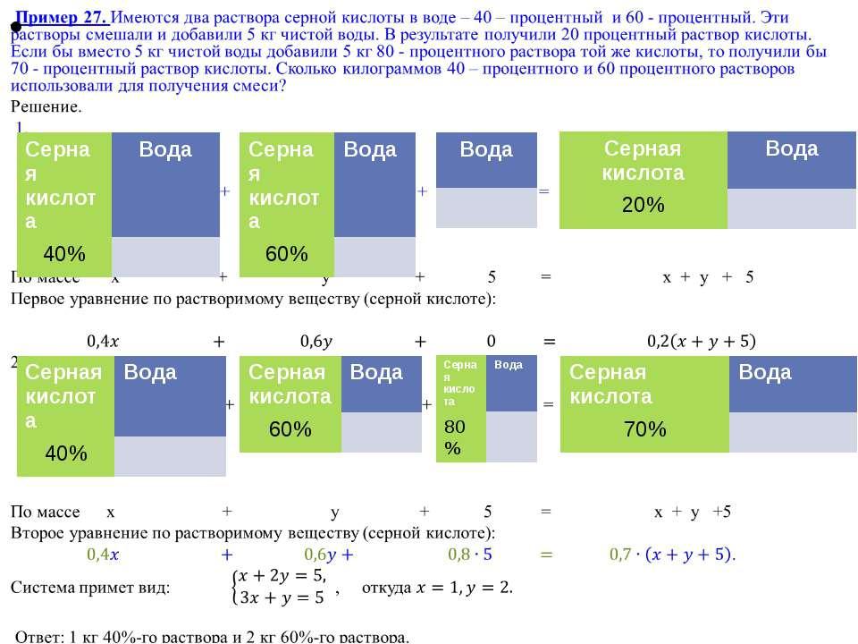Серная кислота Вода 40% Серная кислота Вода 60% Вода Серная кислота Вода 20% ...