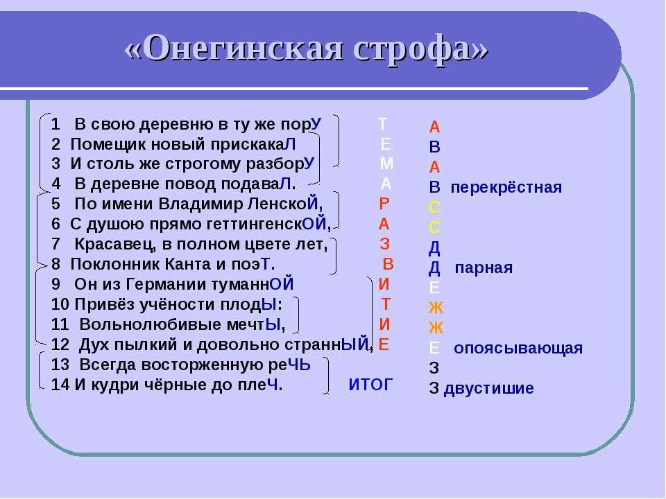 «Онегинская строфа» 1 В свою деревню в ту же порУ Т 2 Помещик новый прискакаЛ...