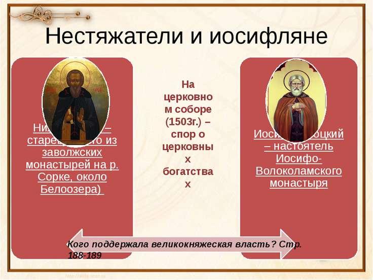Нестяжатели и иосифляне Кого поддержала великокняжеская власть? Стр. 188-189 ...