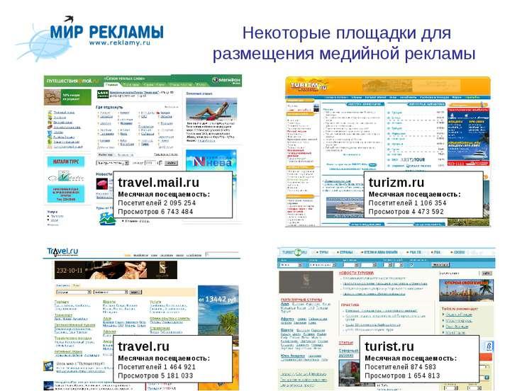 Некоторые площадки для размещения медийной рекламы travel.mail.ru Месячная по...