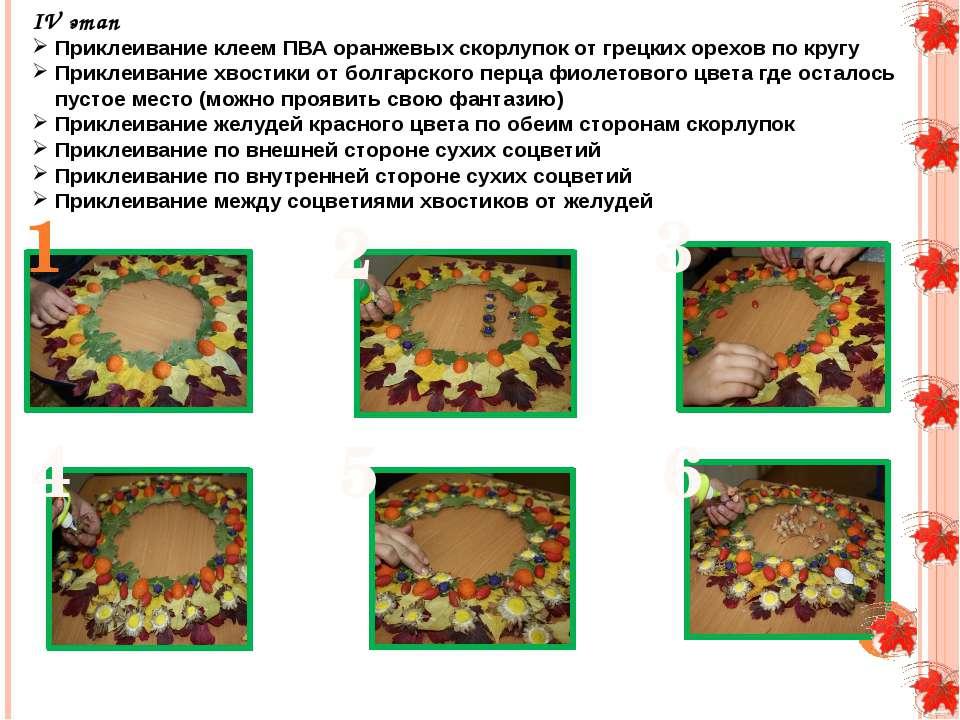 IV этап Приклеивание клеем ПВА оранжевых скорлупок от грецких орехов по кругу...