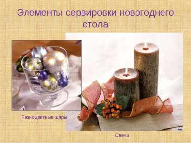 Элементы сервировки новогоднего стола Разноцветные шары Свечи