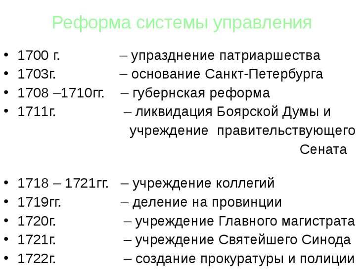 Реформа системы управления 1700 г. – упразднение патриаршества 1703г. – основ...
