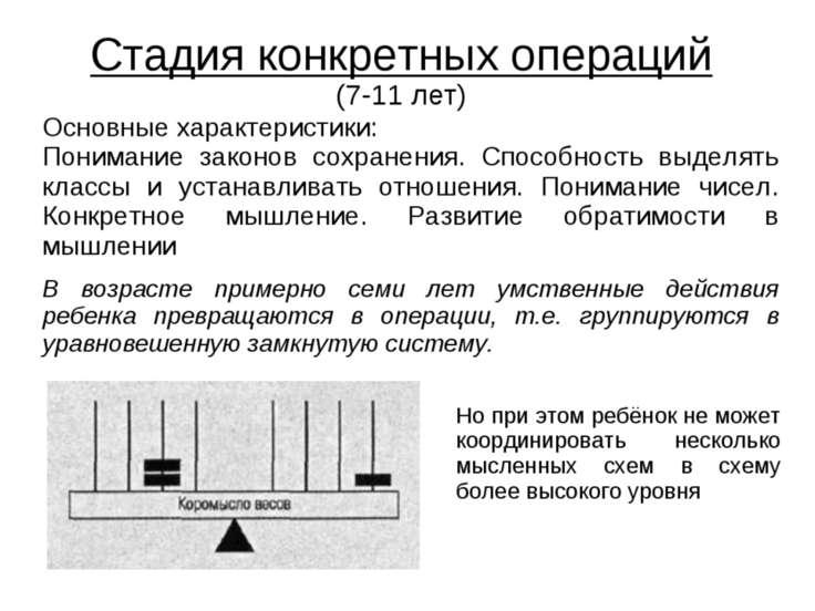 Стадия конкретных операций (7-11 лет) Основные характеристики: Понимание зако...