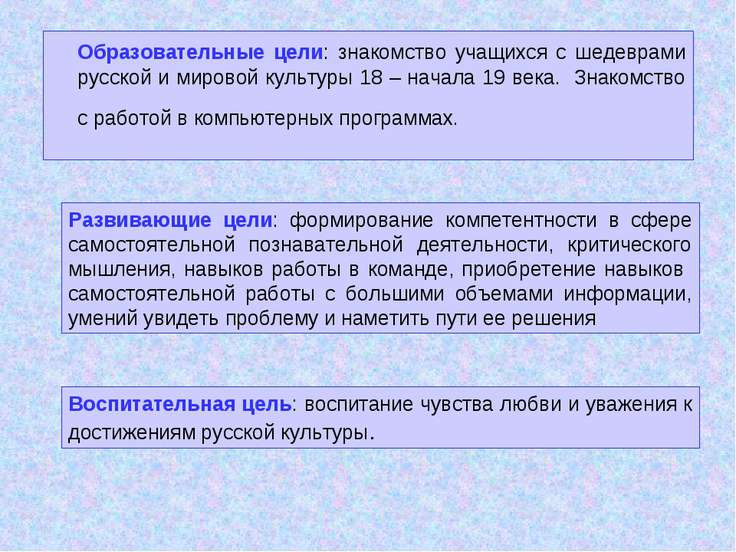 Образовательные цели: знакомство учащихся с шедеврами русской и мировой культ...