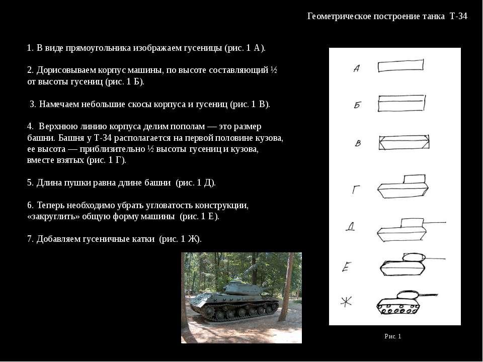 Геометрическое построение танка Т-34 1. В виде прямоугольника изображаем гусе...