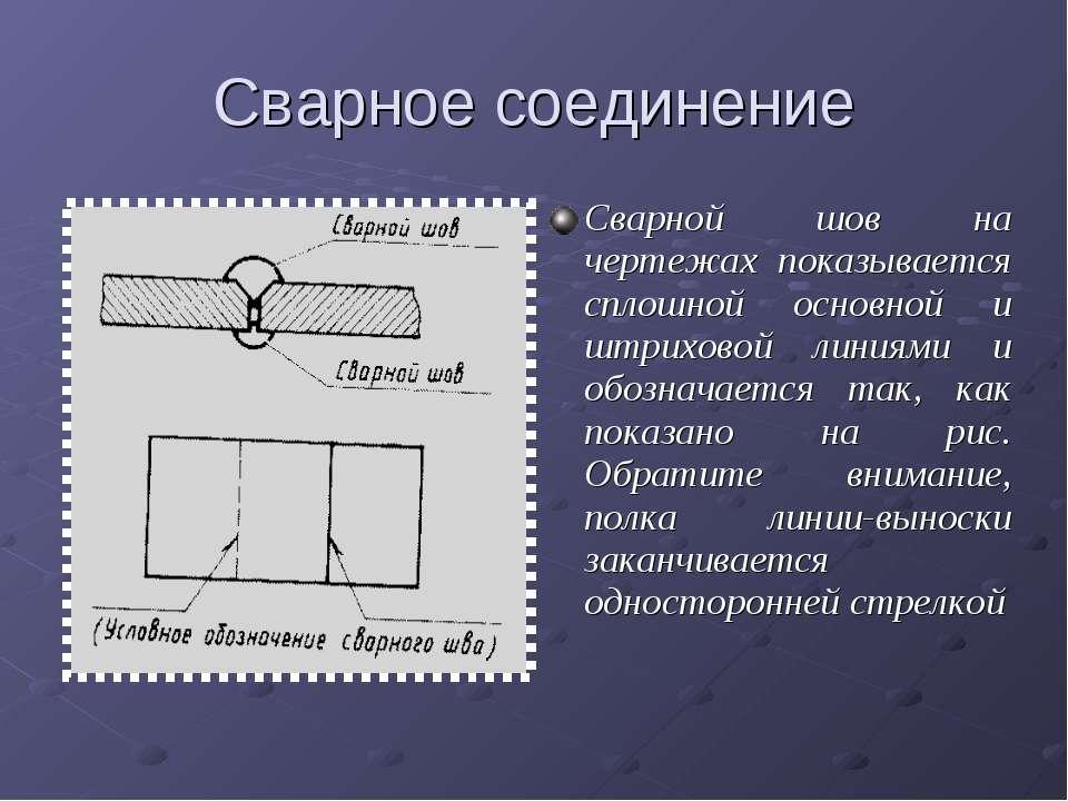 Сварное соединение Сварной шов на чертежах показывается сплошной основной и ш...