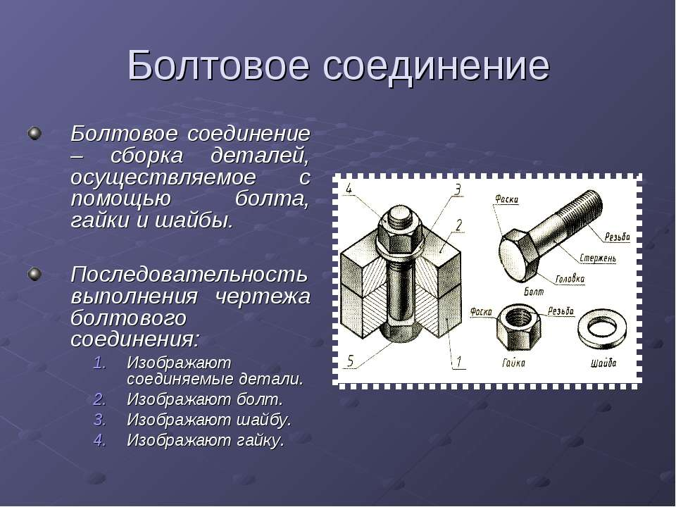Болтовое соединение Болтовое соединение – сборка деталей, осуществляемое с по...