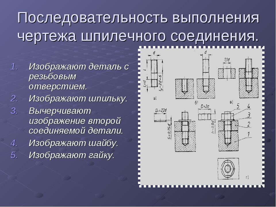 Последовательность выполнения чертежа шпилечного соединения. Изображают детал...
