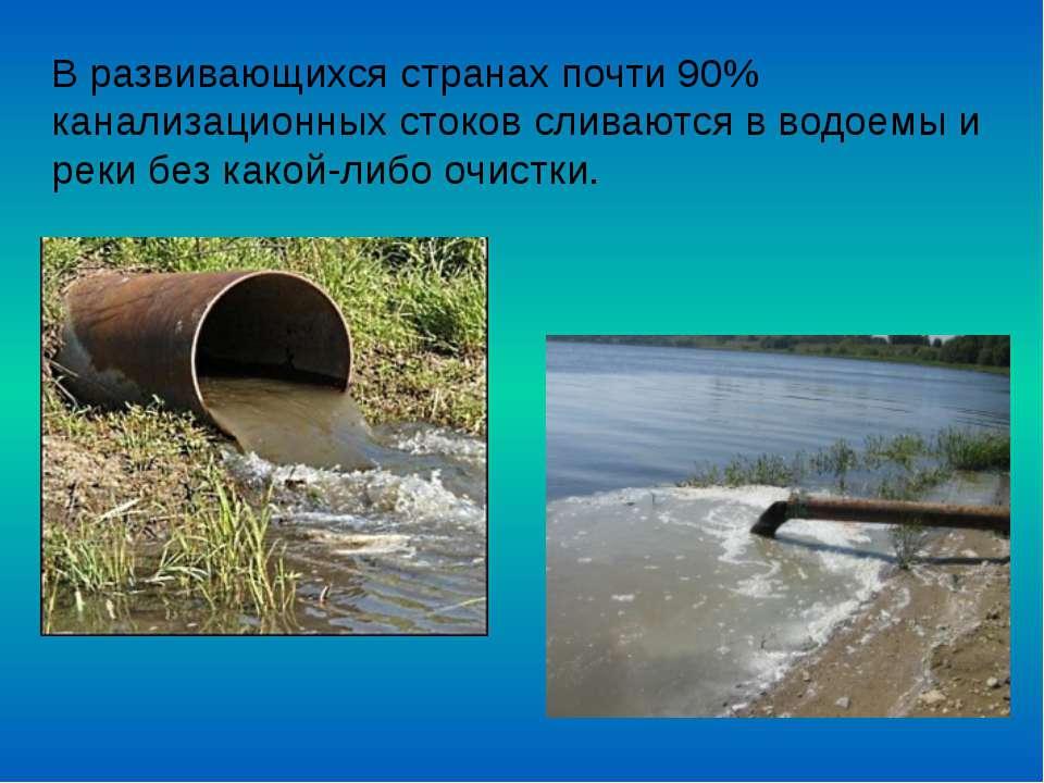 В развивающихся странах почти 90% канализационных стоков сливаются в водоемы ...
