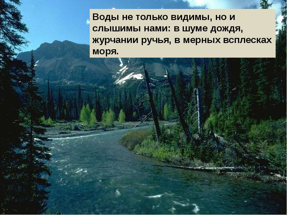 Воды не только видимы, но и слышимы нами: в шуме дождя, журчании ручья, в мер...