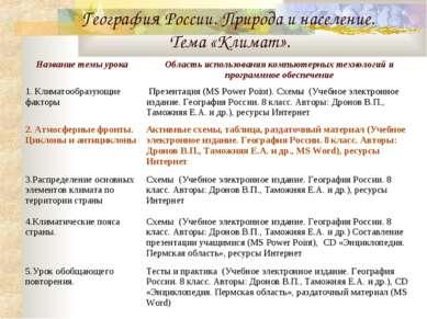 География России. Природа и население. Тема «Климат».