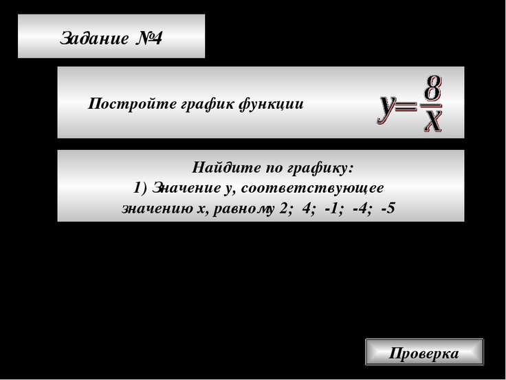 Задание №4 Постройте график функции Проверка Найдите по графику: Значение у, ...