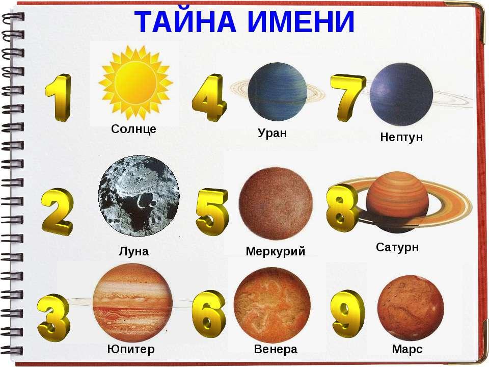 ТАЙНА ИМЕНИ Солнце Луна Юпитер Уран Меркурий Венера Нептун Сатурн Марс