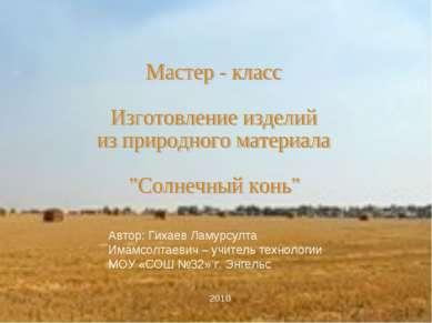 Автор: Гихаев Ламурсулта Имамсолтаевич – учитель технологии МОУ «СОШ №32» г. ...