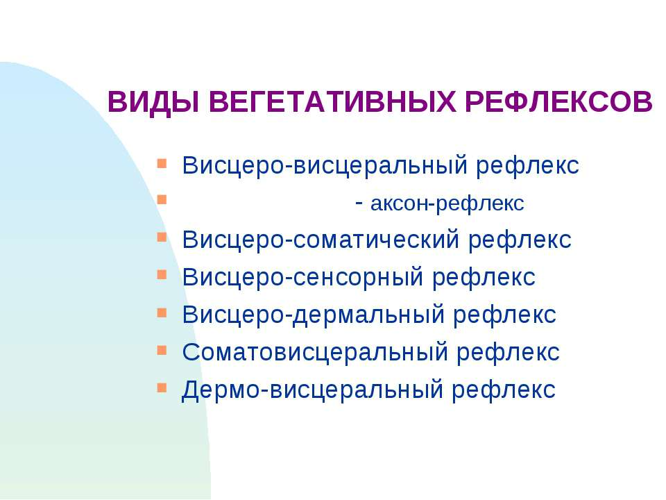 ВИДЫ ВЕГЕТАТИВНЫХ РЕФЛЕКСОВ Висцеро-висцеральный рефлекс - аксон-рефлекс Висц...
