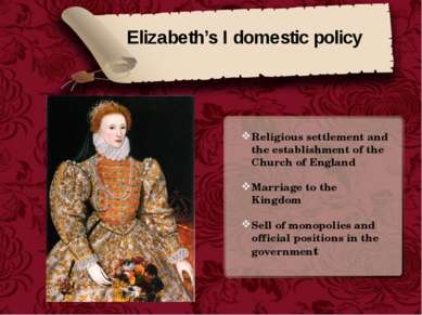 Elizabeth's I domestic policy Religious settlement and the establishment of t...