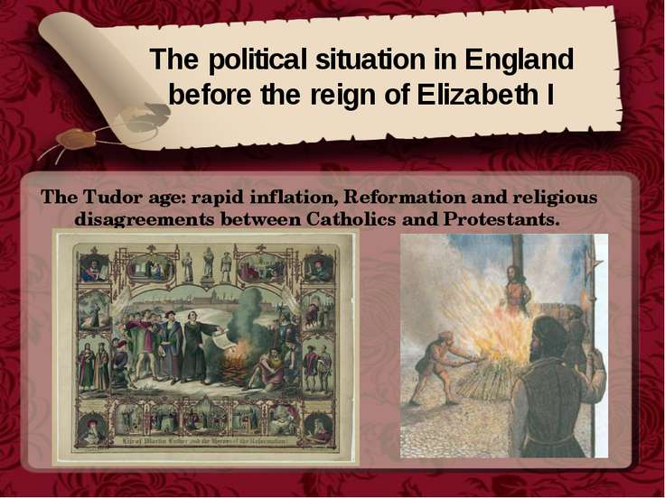The political situation in England before the reign of Elizabeth I The Tudor ...