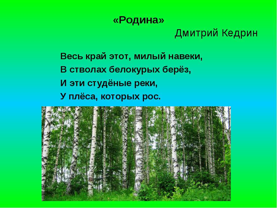 «Родина» Дмитрий Кедрин Весь край этот, милый навеки, В стволах белокурых бер...