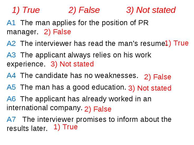A1 The man applies for the position of PR manager. A2 The interviewer has rea...