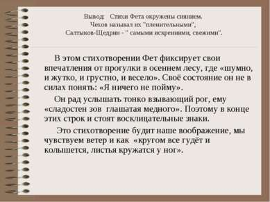 """Вывод: Стихи Фета окружены сиянием. Чехов называл их """"пленительными"""", Салтыко..."""