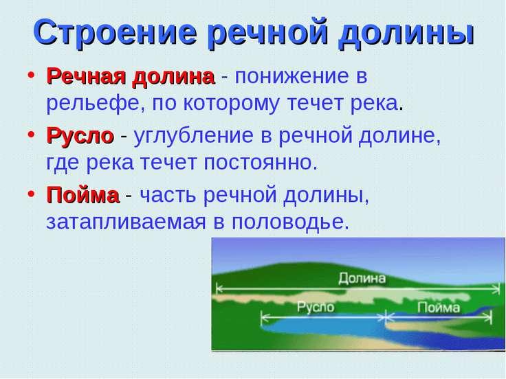 Строение речной долины Речная долина - понижение в рельефе, по которому течет...