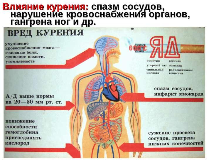 Влияние курения: спазм сосудов, нарушение кровоснабжения органов, гангрена но...