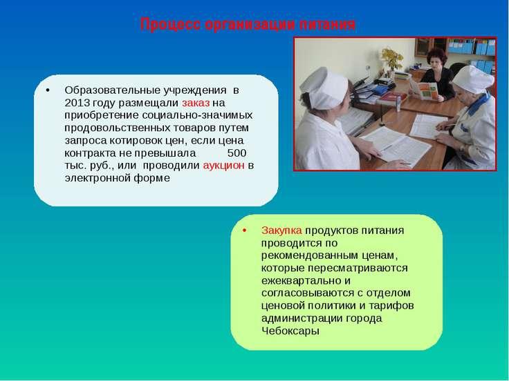 Процесс организации питания Образовательные учреждения в 2013 году размещали ...