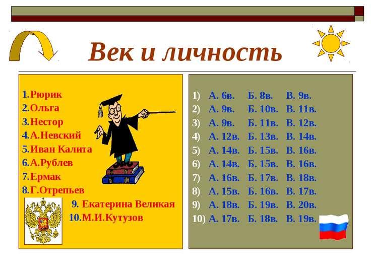 Век и личность 1.Рюрик 2.Ольга 3.Нестор 4.А.Невский 5.Иван Калита 6.А.Рублев ...