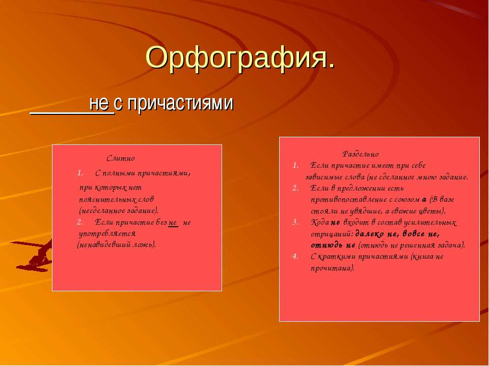Орфография. не с причастиями Слитно С полными причастиями, при которых нет по...