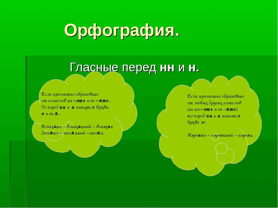 Орфография. Гласные перед нн и н. Если причастие образовано от глаголов на –а...