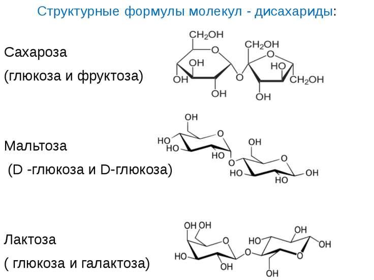 Структурные формулы молекул - дисахариды: Сахароза (глюкоза и фруктоза) Мальт...