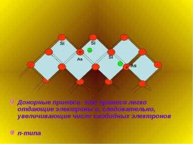 Донорные примеси- это примеси легко отдающие электроны и, следовательно, увел...