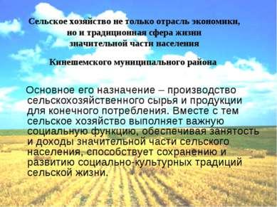Сельское хозяйство не только отрасль экономики, но и традиционная сфера жизни...