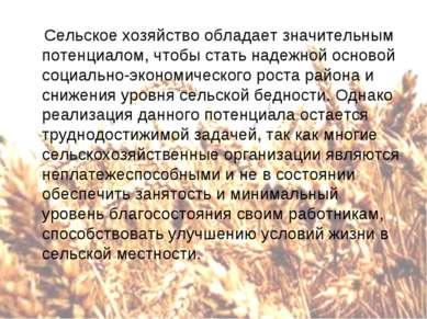 Сельское хозяйство обладает значительным потенциалом, чтобы стать надежной ос...