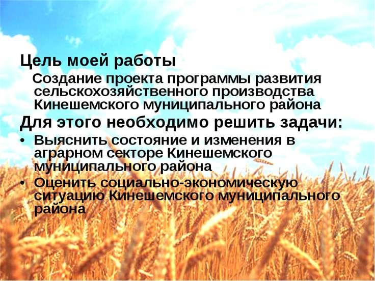 Цель моей работы Создание проекта программы развития сельскохозяйственного пр...