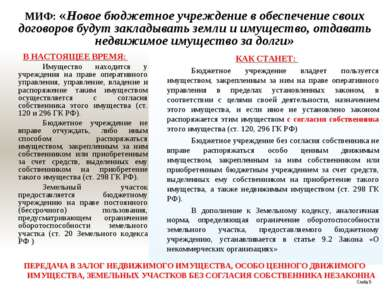 МИФ: «Новое бюджетное учреждение в обеспечение своих договоров будут закладыв...