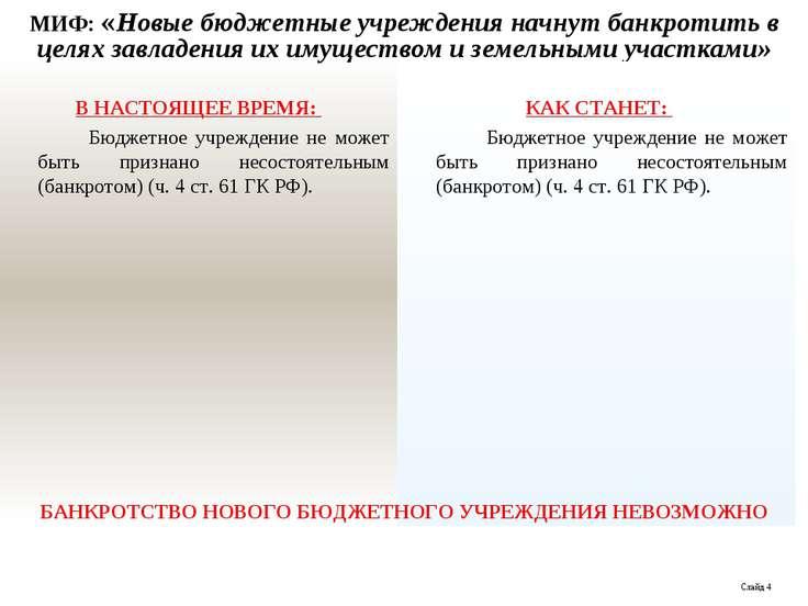 МИФ: «Новые бюджетные учреждения начнут банкротить в целях завладения их имущ...
