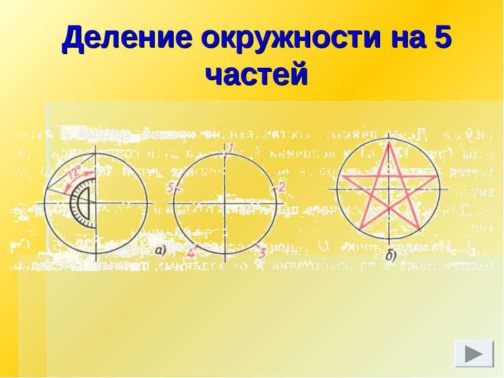 Деление окружности на 5 частей