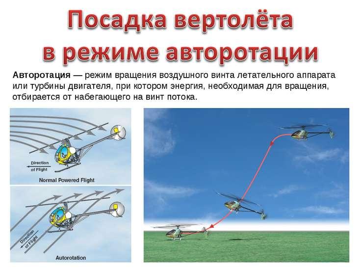 Авторотация — режим вращения воздушного винта летательного аппарата или турби...